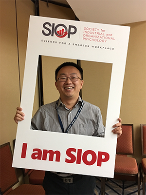 Mo Wang showing off his SIOP spirit at the conference in Chicago